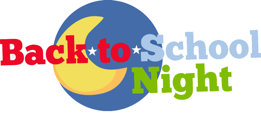 Back to School Night text with moon and stars