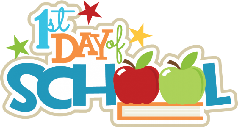 A clip art of the words 1st Day of School, where the two o's in School are replaced by apples. There are also three stars above the words, one is green, the other yellow, and the last one red.