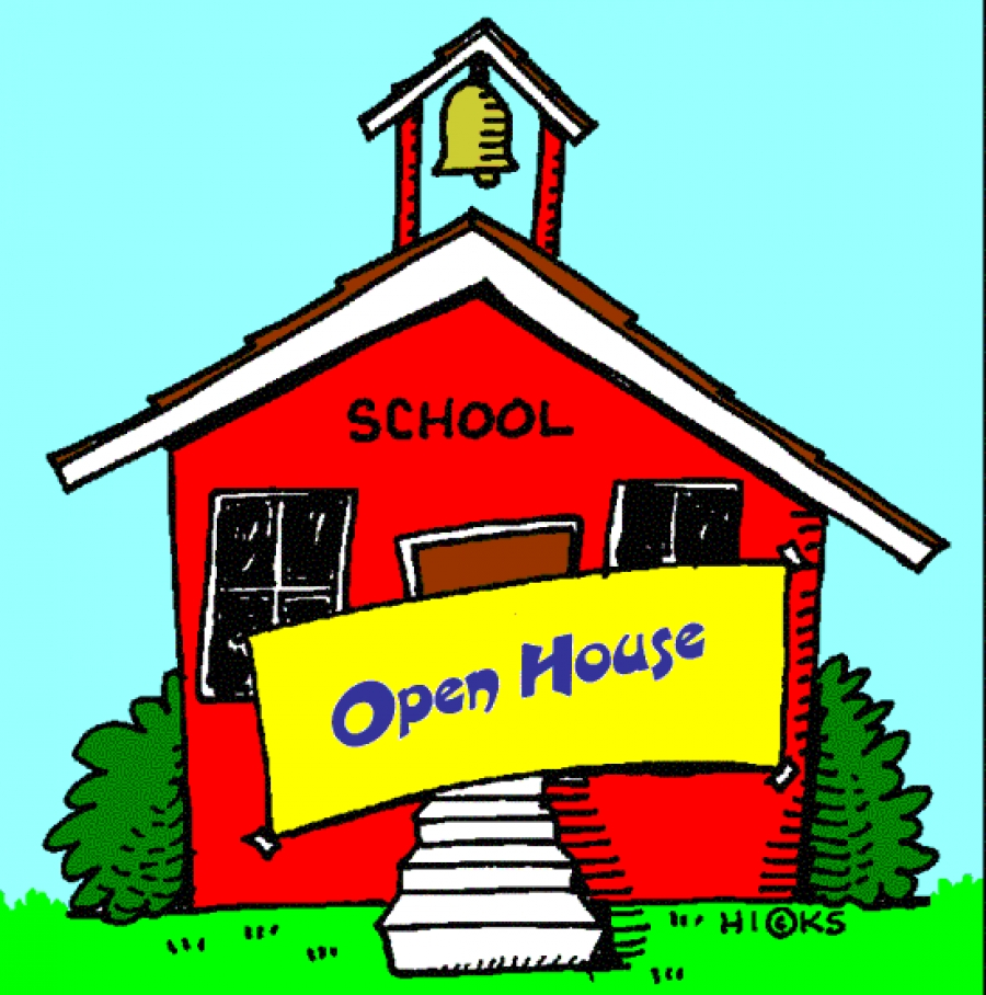 Image of a red school house with a yellow open house sign