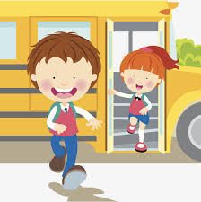 A boy and a girl running off the yellow school bus at the end of the school day.