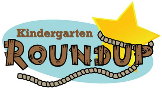 A bright yellow star is lassoed and the words Kindergarten Roundup are overlapping the star.
