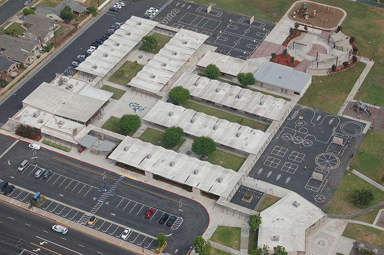 Cerritos School from helicopter